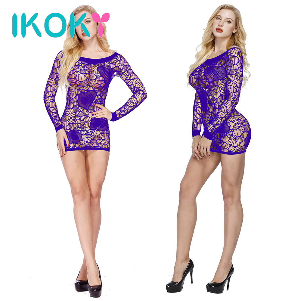 IKOKY Long Sleeves Hollow Sexy One-piece Mesh Clothing Erotic Dress Transparent Sleepwear Costumes Temptation Sexy Lingerie