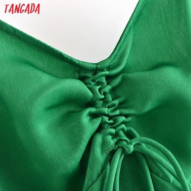 Tangada Women Green Pleated Sexy Satin Short Dress Strap Sleeveless 2021 Summer Fashion Lady Dresses Vestido 3H320 4