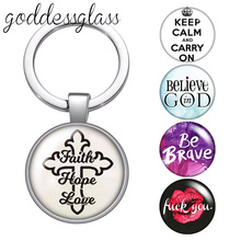 Faith Hope Love Hope Believe live laugh love glass cabochon keychain Bag Car key chain Ring Holder Charms keychains for Gifts printio live laugh love