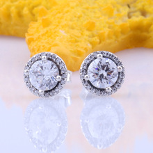 Valentine Day 925 Sterling Silver Clear Forever Circle Round Stud Shiny Water Drop Zircon Pan Earrings For Women Jewelry