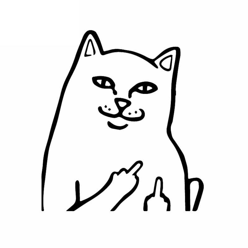 Мультяшная наклейка на автомобиль грубая забавная кошка виниловая наклейка оконные украшения аксессуары для Mercedes мотоцикла черный/серебр...