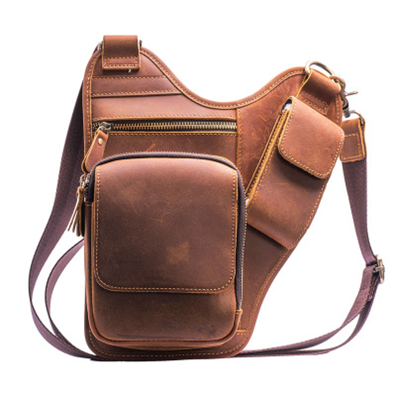 Vintage Men Messenger Bag Bum Waist Pack Multi-Purpose Pouch Crazy Horse Cowhide Fanny Genuine Leather Shoulder Crossbody Bag