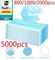 dhl 500/800/1000/2000/5000pcs Disposable Protective Mask 3 Layers Dustproof Facial Protective Cover Masks anti virus Masks