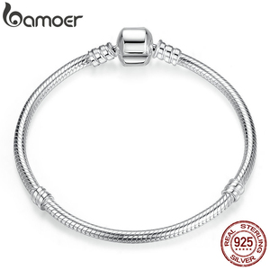 Image 1 - BAMOER TOP SALE Authentic 100% 925 Sterling Silver Snake Chain Bangle & Bracelet for Women Luxury Jewelry 17 20CM PAS902