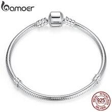 Bamoer Top Koop Authentieke 100% 925 Sterling Zilver Snake Chain Bangle & Armband Voor Vrouwen Luxe Sieraden 17 20cm PAS902