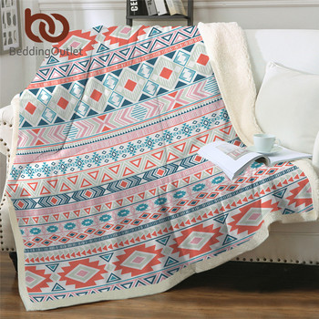 BeddingOutlet Aztec Linen Blanket Mayan Tribal Geometric Bed Blanket Colorful Ethnic Bedspreads Striped Traditional Pink Blanket
