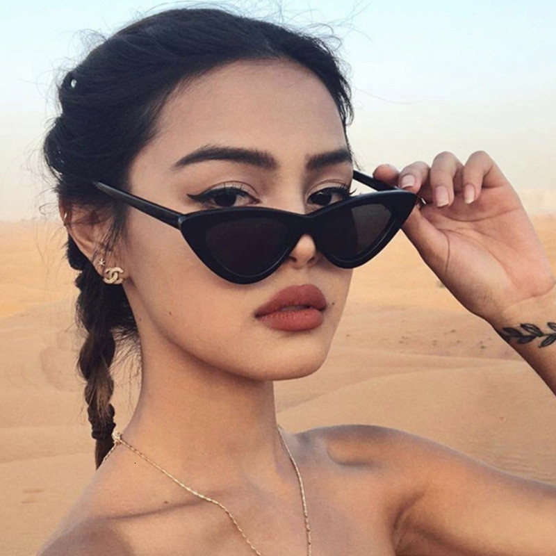 LONSY Fashion Cute Sexy Ladies Cat Eye Sunglasses Women Vintage Retro Small Triangular Cateye Glasses Female Oculos De Sol UV400