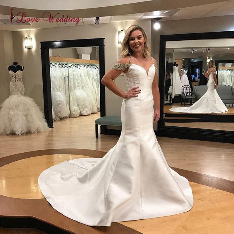 New Fashion 2020 Off The Shoulder Crystal Beaded Mermaid Wedding Dress Custom Made Satin Court Train Bridal Wedding Gown