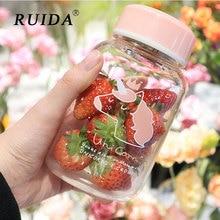 RUIDA 500ML Cartoon Unicorn Glass Water Bottle With Tea Leak Creative Fashion Milk Juice Bottles Cute Girls Drinkware Gift