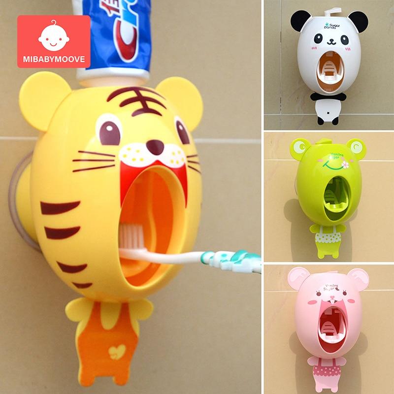 Children Automatic Toothpaste Dispenser Holder Cartoon Bathroom Accessories Set Toothbrush Wall Mount Rack Bathroom Tools Set