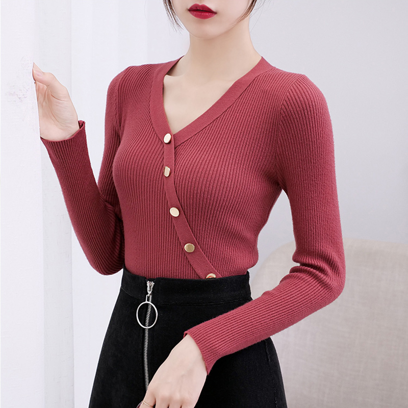 2019 New Casual V-neck Button Sweater Women Solid Autumn Winter Female Slim Knit Sweater Pullovers Soft Jumper Top Khaki Black