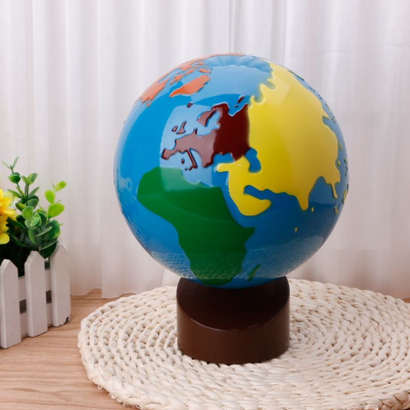 Montessori Geography Material Globe Of World Parts Kids Early Learning Toy 24BE
