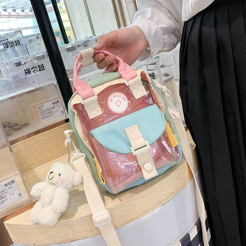 NEW Original Design Fashion Transparent Backpack & Retro Cute Schoolbag College Style Width 16cm Height 20cm Thickness 5cm