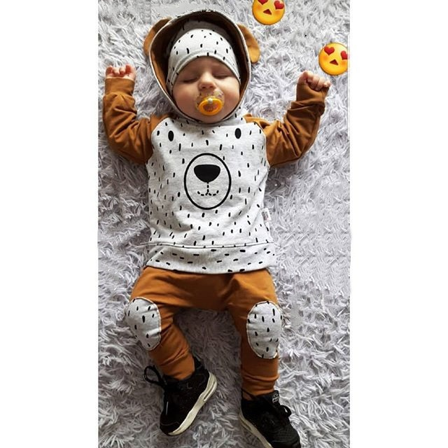 Kids Newborn Boy Two Pieces Sets Long Sleeve Bear Infant Hoodie Pant Tracksuit Set Baby Boy Clothes