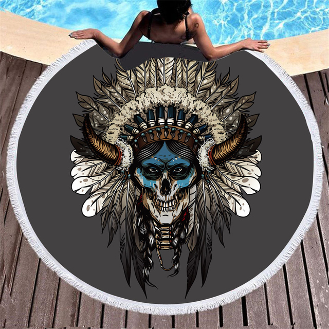 BOHEMIAN FEATHER SKULL ROUND BEACH TOWEL (3 VARIAN)