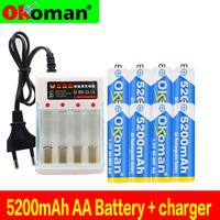 Figh quality 1.2V 5200mAh NI MH AA Pre-Charged Ni-MH Rechargeable aa Battery For Toys Camera Microphone Batteries + Charger