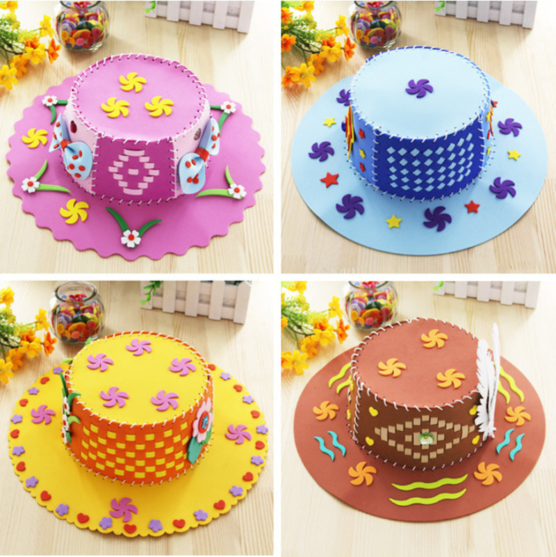DIY Creative EVA Foam Paper Weaving Hat Flower Star Pattern Kindergarten Art Kids Craft Toys For Children Party Decoration Gifts