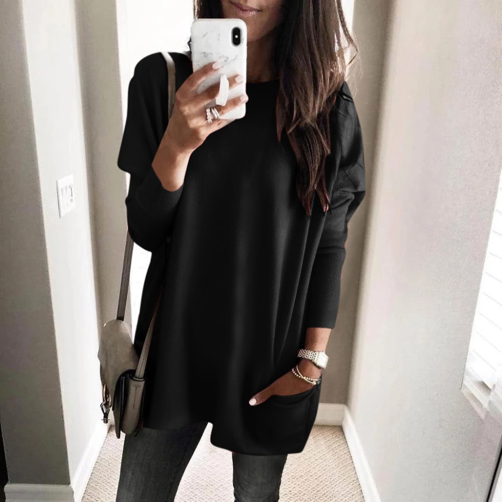 Womens Solid Warm Long Sleeve Sweatshirt Loose Pocket Daily Pullover Tops #4O08 (31)