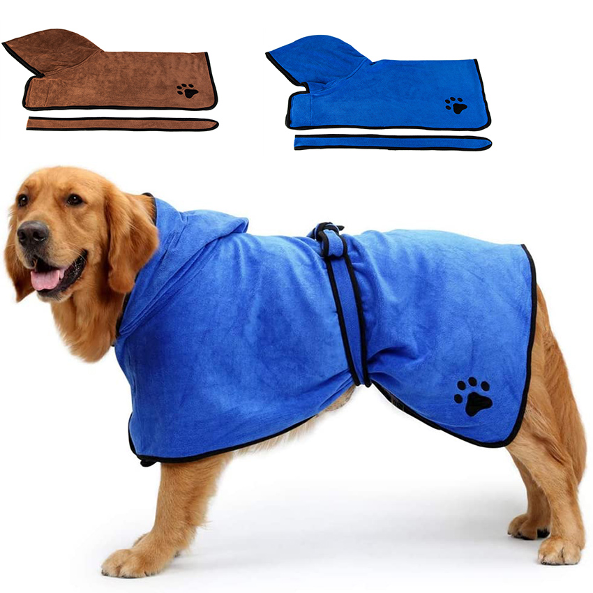 Pet Dog Cat Bathrobe Soft Quickly Absorbing Water Fiber Pet Drying Towel Robe With Hat Pupuy Cat Pet Grooming Supplies 1
