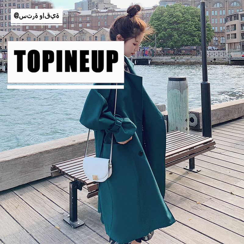 spring loose Solid Color long spring coat Fashion New Student Style Loose Waist Belt Double Breasted Female   Trench   Coats