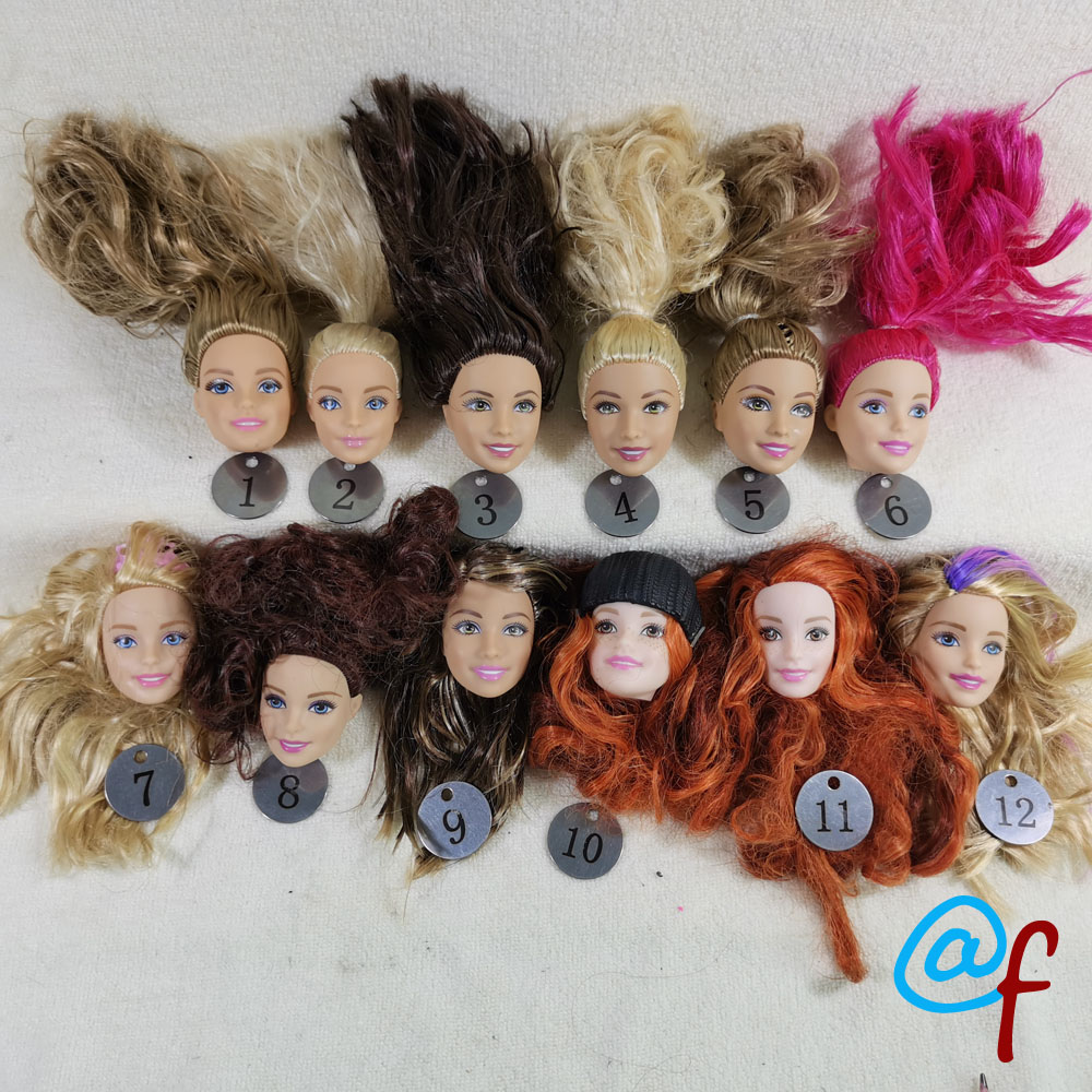 B20-15 Original Foreign Trade European Beauty1/6 OOAK NUDE Doll Head Mussed Long Hair For DIY Soft PVC Head  90%NEW