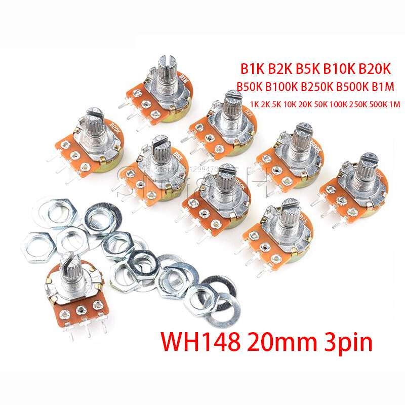 Потенциометр WH148 3 контакта 20 мм, 5 шт., B1K B2K B5K B10K B20K B50K B100K B250K B500K B1M 1K 2K 5K 10K 20K 50K 100K 250K 500K 1M