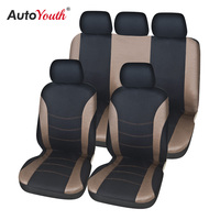 Cobertura para assento de carro  conjunto completo de capas para automóveis  caminhão  van  suv  tecido plano  compatível com airbag  universal fit (marrom claro 9 peças)