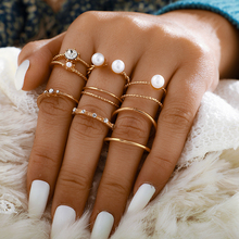 Tocona 8 unids/set anillos de oro de perlas abiertas para mujer elegantes damas boda joyería anillo de nudillo accesorio 9016