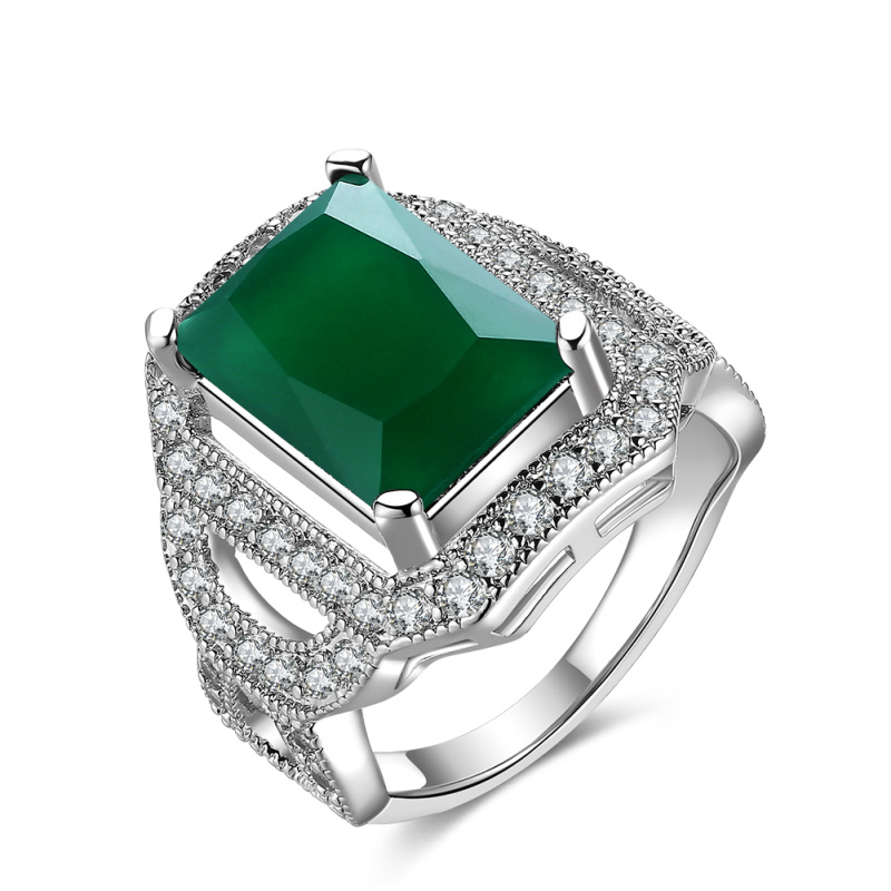 Party Ring Green stone white Cubic Zirconia Silver Fashion jewelry womens Rings R2077