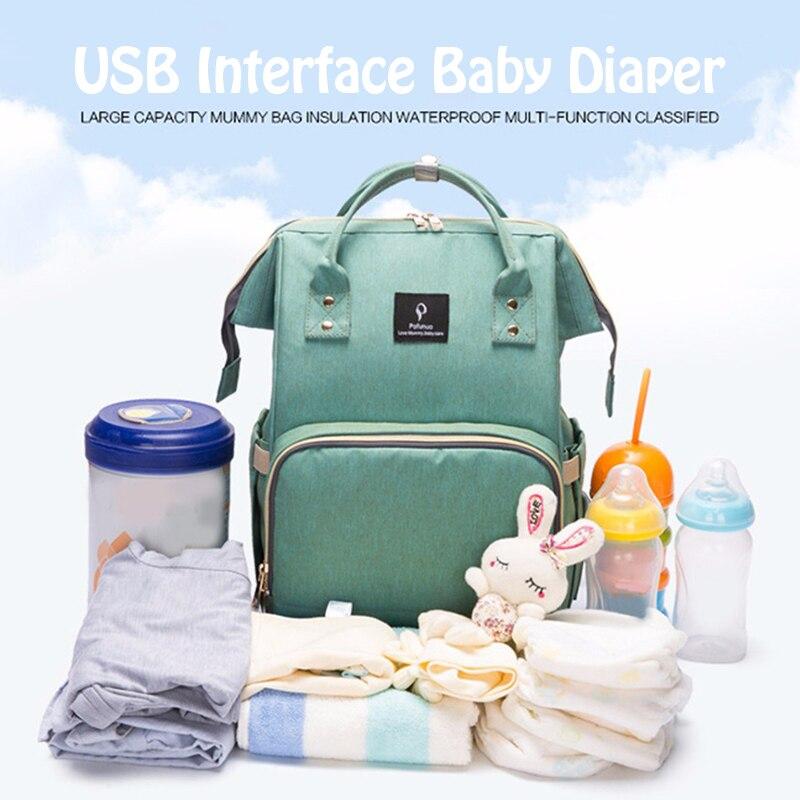 H74786c8b4fbd4550aa6278827f4e5386H Diaper Bag With USB Interface Large Capacity Travel Backpack Nursing Handbag Waterproof Nappy Bag Kits Mummy Maternity Baby Bag