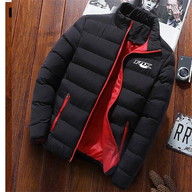 2020 Autumn Winter New Men's fox print Jacket Slim Fit Stand Collar Zipper Jacket Men Solid Cotton Thick Warm Jacket Men