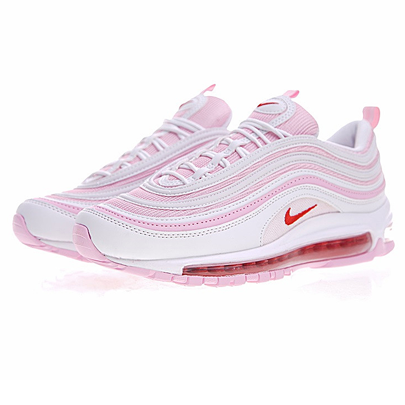 Nike AIR MAX 97 OG Women's Running Shoes Fashion Cherry Blossoms Pink Sneakers Retro Low top Lace Up Light Top Quality313054 161