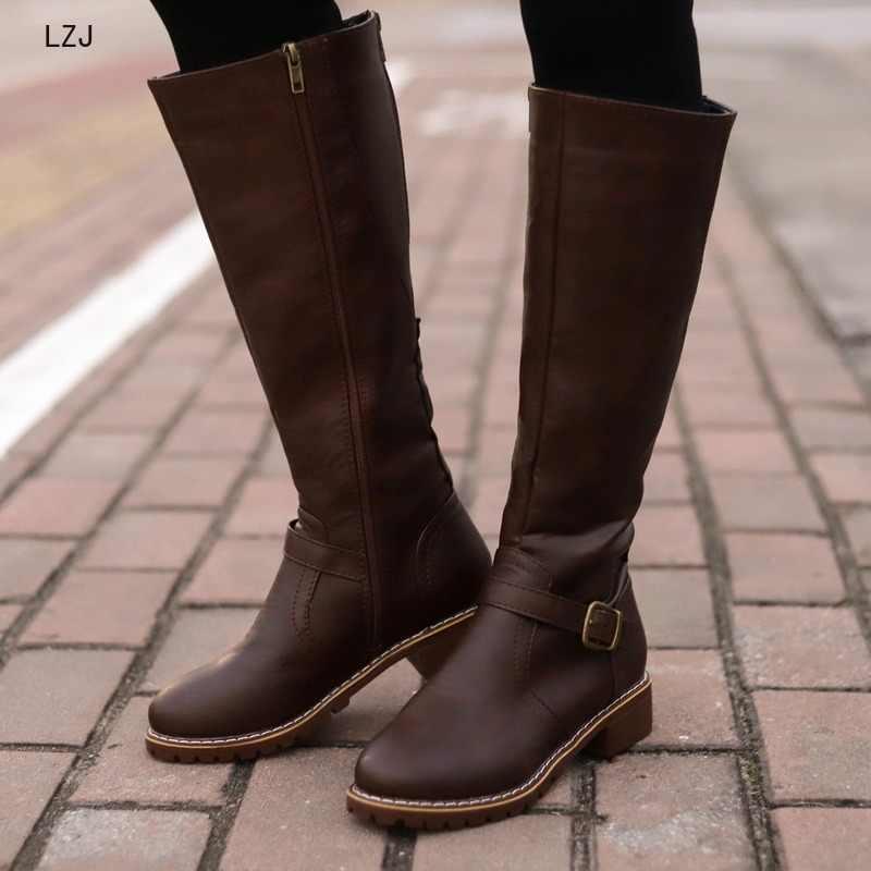 Uyluk yüksek çizmeler kahverengi kadınlar Vintage deri kare topuk fermuar diz boyu toka çizme sıcak tutmak yuvarlak ayak ayakkabı İngiliz stil