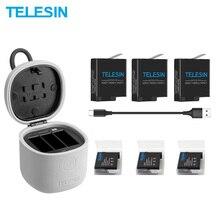 TELESIN 3 шт аккумулятор 3 слота зарядное устройство набор TF кард-ридер зарядная коробка для хранения для Gopro Hero 8 7 Black Hero 6 Hero 5