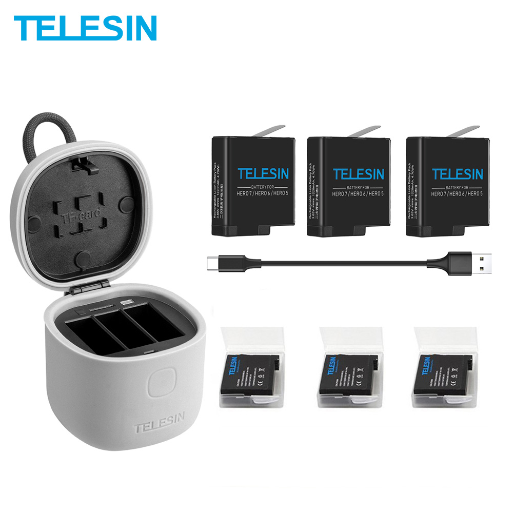 TELESIN 3PACK Battery 3 Slots Battery Charger Set TF Card Reader Charging Box Storage Box For Gopro Hero 8 7 Black Hero 6 Hero 5