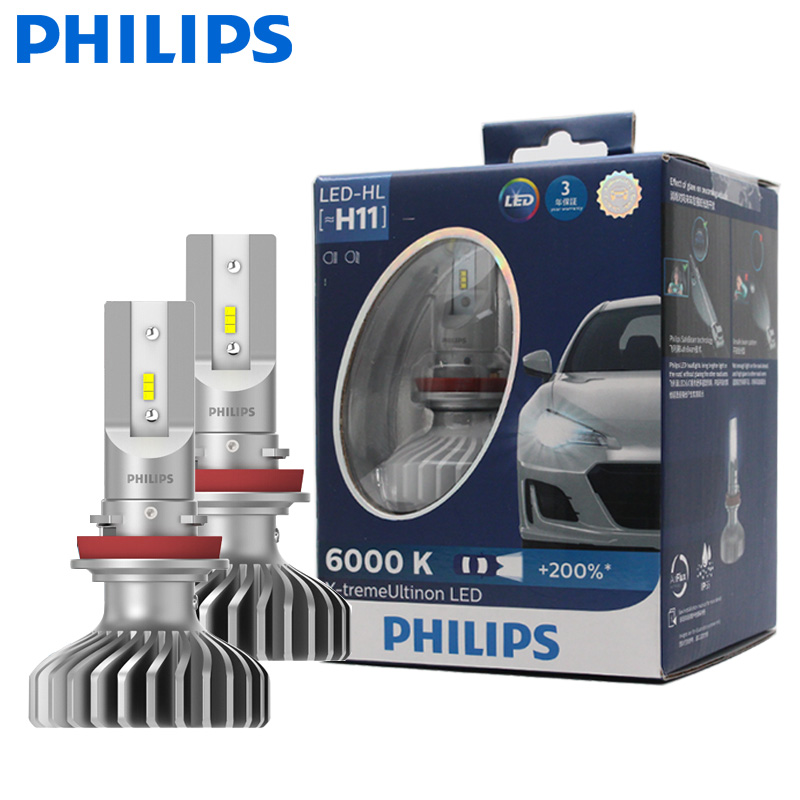 200/% light bulb White Philips X-treme Ultinon LED H11 Headlight 12V 22W 6000K