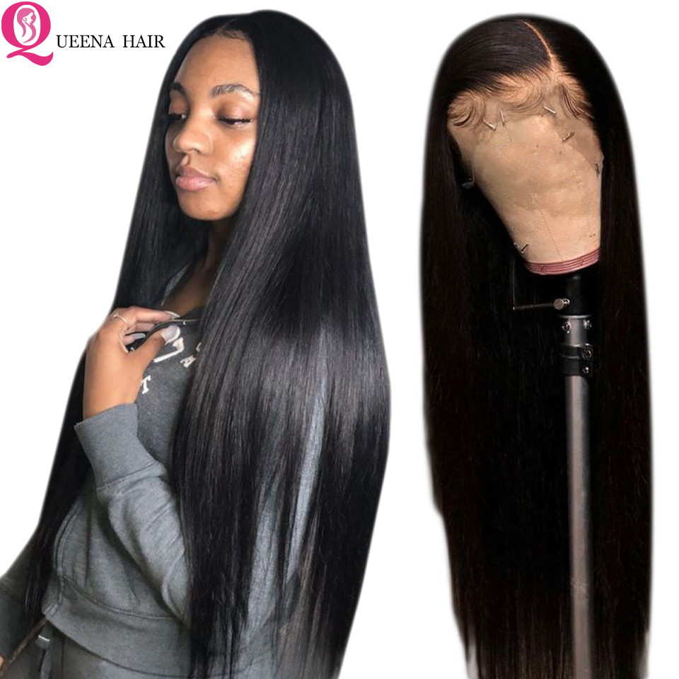 Transparent Lace Front Human Hair Wigs For Black Women Peruvian Straight Lace Frontal Wig Pre Plucked Remy 13x4 front lace Wigs-in Human Hair Lace Wigs from Hair Extensions & Wigs