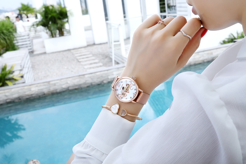 New Fashion Luxury Brand Skeleton Women Mechanical Watch Watch Women Automatic Mechanical Watches for women Silver Montre Femme