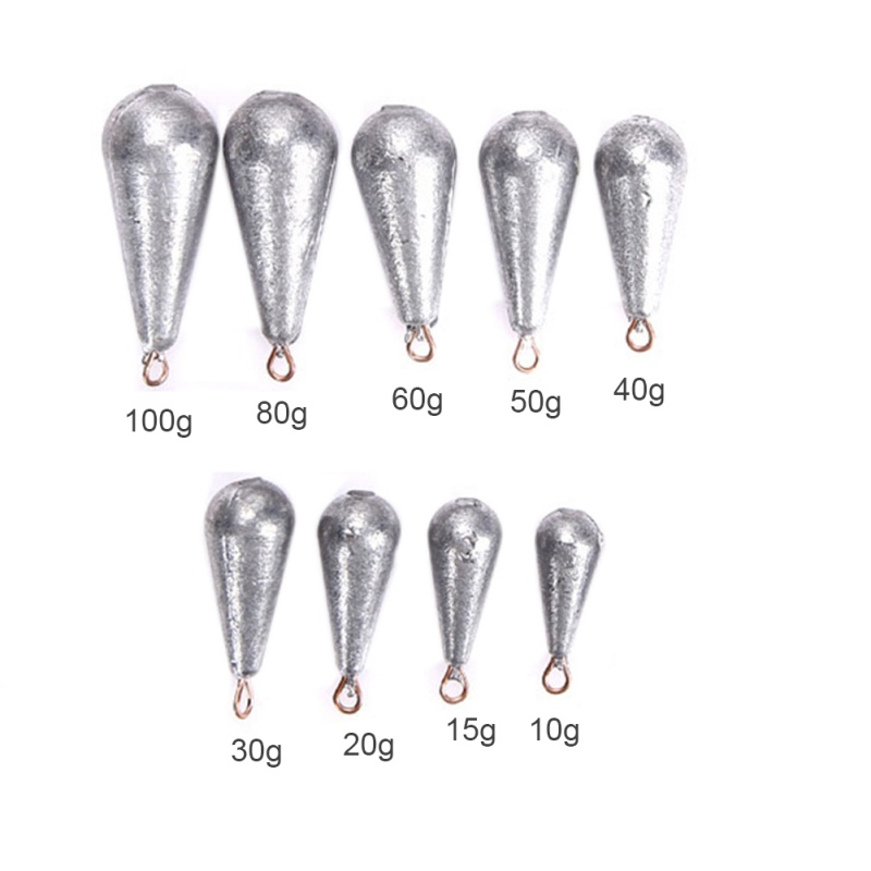 5PCS/Lot Weight Size 10g/15g/20g/30g/40g/50g/60g  Water Droplets Lead Weights Fishing Oval Split Shot Lead Sinkers