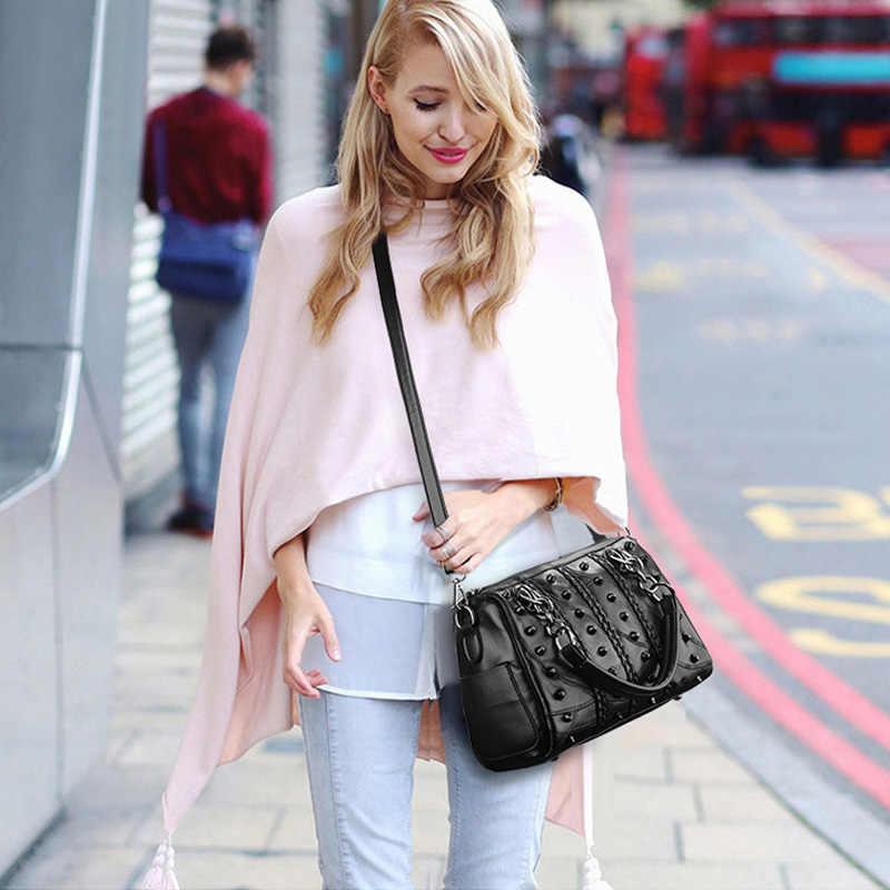 Luxus Handtaschen Frauen 2019 Echtem Leder Tasche Frauen Taschen Designer Messenger Taschen Hohe Qualität Weibliche Tote Nieten Schulter Tasche