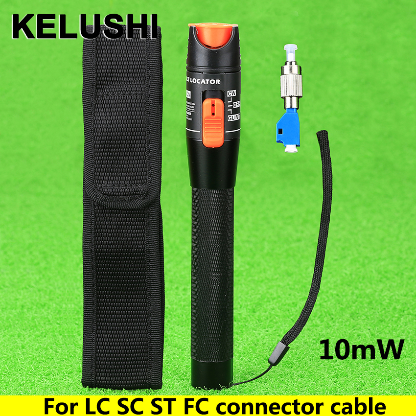 KELUSHI 10mW Aluminium Visual Fault Locator Fiber Tester Detector FC Male to LC Female Adaptor For