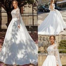 Linia długie rękawy suknie ślubne Vestido De Noiva O szyi koronki aplikacje otwórz wróć sąd pociąg suknie ślubne dla panny młodej