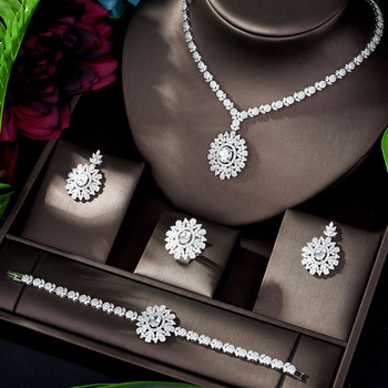 HIBRIDE Famous 2020 Charms Wedding Jewelry Sets Making Jewelry Sets For Women Statement Necklace Earrings Accessories N-1198