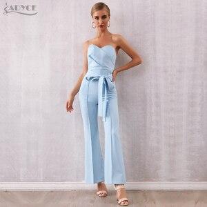 Image 3 - Женский клубный комбинезон с брюками ADYCE, голубой облегающий комбинезон с бантом без бретелей в стиле звезд, для подиума, для лета, 2020