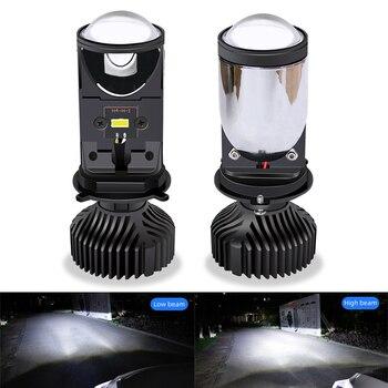 H4 LED Bulb with Mini Projector Lens 9600LM H4 LED Conversion Kit Automobiles Hi/Lo Beam LED Headlight Bulbs 12V 24V 5500K White