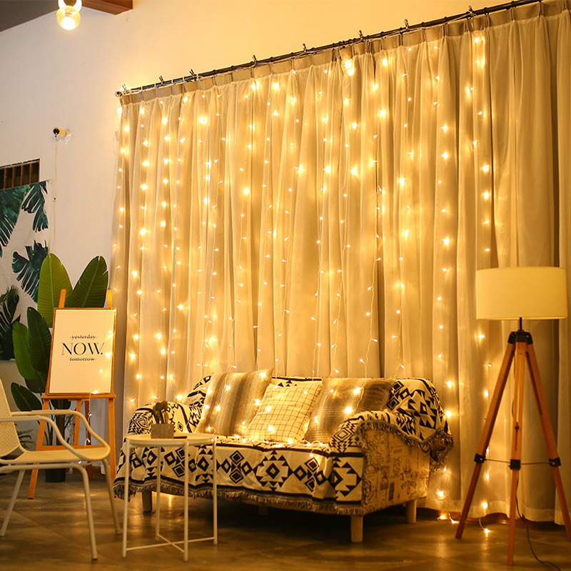JSEX LED Curtains Fairy Lights Christmas Lights Outdoor Deal Light String Lights3x2/3x3/3x1/6x3New Year Holiday Home Decorations