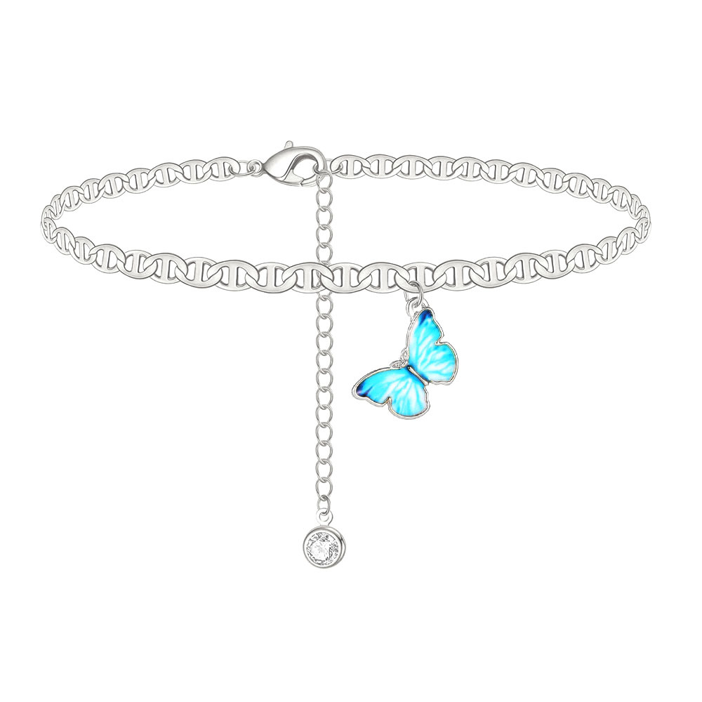 Butterfly Ankle Bracelet Gold Color Zircon Anklet Bracelets Summer Barefoot Beach Accessories Leg Bracelet Women Jewelry