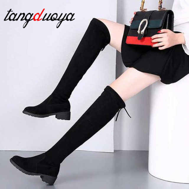 Long boots Winter Over The Knee Boots Women Stretch Fabric Women Thigh High Sexy Lace Up Woman Flat Shoes Long Bota Feminina