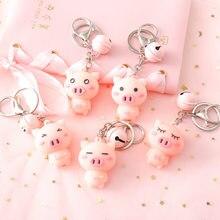 Chaveiro de carrinho rosa feminino, chaveiro lindo de porco com sino e bolsa para meninas, 1 peça chaveiro joia presente k12