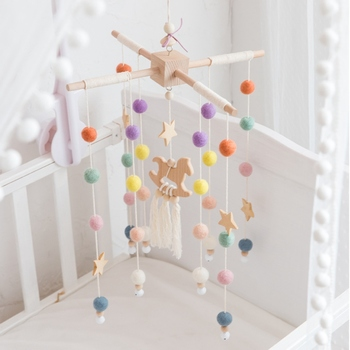 Baby Mobile Hanging Rattles Toys Wind-up Music Box Hanger DIY Hanging Baby Crib Mobile Bed Bell Wood Toy Holder Arm Bracket